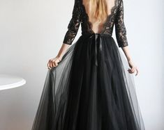 Maxi Silk and Lace Black Gown Unique Handmade Nude by NelliUzun Ball Dresses, Prom Dresses, Girl Fashion, Fashion Looks, Tulle Prom Dress, Party Dress, Lace Evening Gowns, Red Maxi, Sophisticated Dress