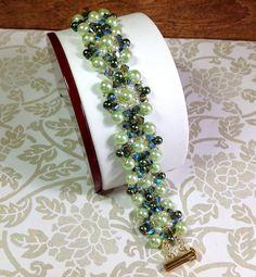 Light Green Swarovski Pearl Bracelet Swarovski by JewelryCharmers, $45.00