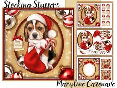 Stocking Stuffers by Maryline Cazenave 3 page mini kit including 7x7 topper decoupage blank insert 2 gift tags and 8 greeting tiles Christmas Wishes Merry Christmas Season Greetings Ho Ho Ho Have a jolly Christmas Especially for you on Christmas Sent with love on Christmas Merry Christmas and Happy New Year  and one blank.The kit features a cute beagle puppy holding a christmas stocking in its mou