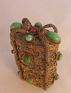 WOW-Antique-French-Gold-Gilt-Filigree-Jeweled-Box-amp-Cut-Glass-Perfume-Bottles