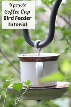 Don't throw away that unmatched coffee cup and saucer! Upcycle it into a coffee cup bird feeder for less than $5.