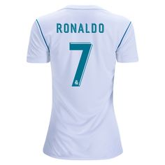 2017 Cristiano Ronaldo Jersey Number 7 Home Women's Real Madrid Team Cristiano Ronaldo Jersey, Ronaldo Soccer, Real Madrid Shirt, Real Madrid Team, Number 7, Shop Usa, Stupid Funny Memes, Shirts, Shirt