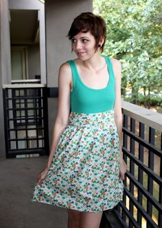 Not only is it cheap and chic this DIY Tank Dress is also easy to make.This easy dress tutorial will show you how to transform a basic tank and fabric into a cute sewing project. In 30 minutes you'll have a stylish new outfit for spring and summer. Sundress Pattern, Dress Patterns, Easy Dress Pattern, Sewing Patterns, Diy Clothing, Sewing Clothes, Dress Sewing, Clothes Refashion, Fabric Sewing