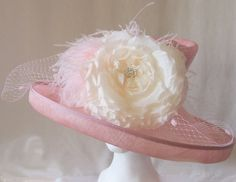 Pink Sinamay Derby Hat with Rose and Feathers by HatTrix on Etsy Couture Looks, Summer Events, Ostrich Feathers, Derby Hats, Hat Sizes, Summer Wedding, Flower Girl Dresses, Summer Dresses, Crystals