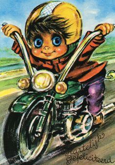 Alte Ansichtskarte 70 s Motorrad von CuteEyeCatchers auf Etsy