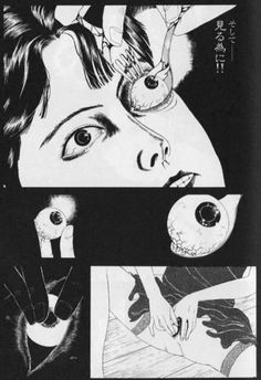 "serp3ntes:  Page from Suehiro Maruo's manga, DDT.  ""Georges Bataille's Histoire De L'oeil (Story of the Eye; 1928) surely had a muscular influence on Maruo and many of his contemporaries. Variations of and tableaux inspired by the book's deliciously grotesque eroticism permeate the artist's work."""