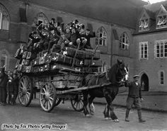 Boys of Ardingly School going home for the Christmas holidays, 1927.