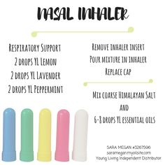nasal inhaler with Young Living peppermint, lavender, and lemon essential oils. Sara Megan #3267596 Young Living Independent Distributor