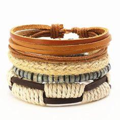 4 PCS FASHION VINTAGE FEATHER LEATHER BRACELET FOR UNISEX JEWELRY Bracelet Set, Women Jewelry, Men's Jewelry, Feather, Vintage Fashion, Beaded Bracelets, Beads, Type, Handmade Leather
