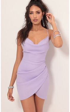 Love Lies Chiffon Dress In Lavender Style: Lights, camera, action! This bright show-stopping dress is extremely fit and flattering in all the right places. Made from our luxurious light purple Hoco Dresses, Homecoming Dresses, Cute Dresses, Dress Outfits, Casual Dresses, Cool Outfits, Fashion Outfits, Sexy Dresses, Summer Dresses