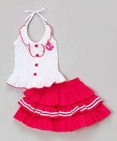 Look what I found on #zulily! White & Fuchsia Halter Top & Tiered Skirt - Toddler & Girls #zulilyfinds