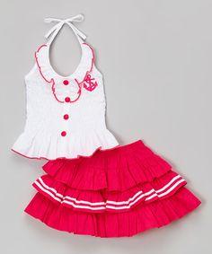 Look what I found on #zulily! White & Fuchsia Halter Top & Tiered Skirt - Toddler & Girls #zulilyfinds