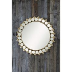 Round Sunburst Frame Decorative Wall Mirror | Gold | Vintage | Boho | Home Decor | Fleurs di lis | Large mirror surrounded by small mirrors