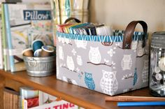 These baskets are quick and easy to make and are fat quarter friendly (the largest piece you need is 17×15 so pull out those big scraps)! They are made sturdy with a layer of Peltex, but can also b...