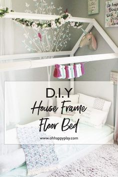 Pin It! Free DIY guide to building your very own house frame floor bed. These fl… Pin It! Free DIY guide to building your very own house frame floor bed. These floor beds are beautiful, comfy, and cozy for little ones!