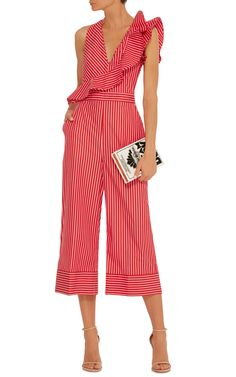 49c719d6561 MSGM Ruffle-Trimmed Striped Jumpsuit Ruffle Jumpsuit