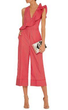 MSGM Ruffle-Trimmed Striped Jumpsuit