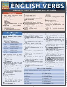 This handy 4-page guide gives you information on one of the most important parts of speech: The Verb. It includes information on verb basics, properties of verbs, types of verbs and much more. Browse and download thousands of educational eBooks, worksheets, teacher presentations, practice tests and