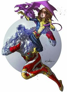 Colossus, Shadowcat (Kitty Pryde) and Lockheed Marvel Comics Art, Disney Marvel, Marvel Dc Comics, Marvel Heroes, Comic Books Art, Comic Art, Comic Pics, Kitty Pryde, Comic Drawing
