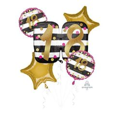 18th Pink & Gold Birthday Balloon Gift – Balloon HQ Pink Gold Birthday, Balloon Gift, Balloon Bouquet, Foil Balloons, Birthday Balloons, Gold Stars, Pink And Gold, 18th