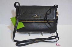KATE SPADE Black Leather Foldover Design Crossbody SHOULDER BAG PURSE Clutch NWT #katespade #CrossBody