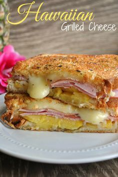 This grilled cheese is bursting with Jack cheese, pineapple, and Canadian Bacon!! Tastes just like a Hawaiian pizza!