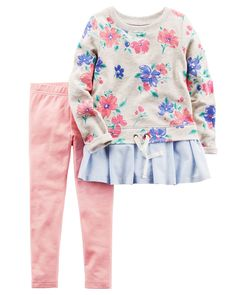 2-Piece French Terry Top & Legging Set from Carters.com. Shop clothing & accessories from a trusted name in kids, toddlers, and baby clothes.