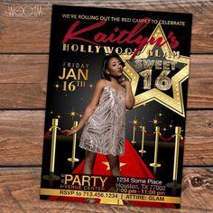 Hollywood Glam Sweet 16 Birthday Invitation Personalize by Wooem