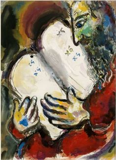 """Ten Commandements by Marc Chagall. Painting. In Jewish tradition, Moses is referred to as """"The Lawgiver"""" for this singular achievement of delivering the Ten Commandments."""