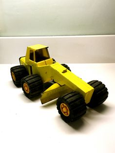 """Vintage Yellow 'BUDDY L' Road Grader, Swivel Engine, Steel Toy 12.5"""" Long, Japan by vintagetoolbox on Etsy"""