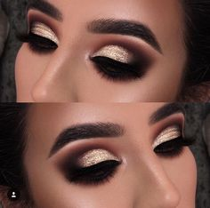 Bold Glitter Eye Look | Smokey Eye makeup | Black Brown Gold Eye shadow  #eyemakeup #eyebrows  Pin: @amerishabeauty