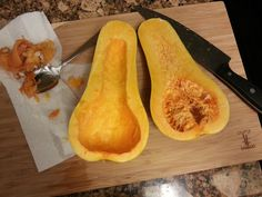 HOW TO MICROWAVE BUTTERNUT SQUASH This is a very simple and delicious way to cook butternut squash. Carefuly cut the squash vertically, using a sharp knife. Use a spoon to scoop out the seeds as shown in the picture above. Place seedless squash flesh side down in a microwaveable dish. I use a glass casserole dish. Put about 2 tbs of water in the dish to help steam the squash. Microwave for about 5 minutes.