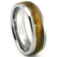 Tungsten Carbide Emerald Green Metamorphic Stone Inlay Dome Wedding Band Ring this is the one i'm getting my man! Emerald Wedding Rings, Emerald Green Weddings, Titanium Wedding Rings, Custom Wedding Rings, Wedding Ring Bands, Titanium Ring, Tiger Eye Jewelry, Rings For Men, Rings