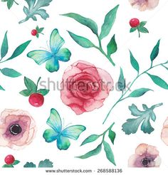stock-vector-watercolor-anemone-roses-berries-and-butterfly-pattern-seamless-texture-with-hand-painted-268588136.jpg 450×470 pixels