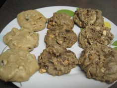 Silly cookie experiment gone horribly wrong.  Column 1 features choc chip cookies.  Column 2 features column 1 cookies baked into a second batch of cookies.  Column 3 features column 2 cookies baked into a third batch of cookies.  Verdict: cookies not crunchy enough, must repeat for more conclusive results.