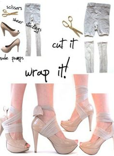 diy shoe condoms from pantyhose. no more heel slippage. omg i'm gonna cry.