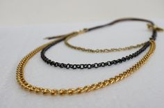 Coupon Code CYBERMONDAY -Multi strand Grey and Gold  Necklace by Justlena on Etsy,