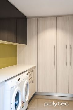 Polytec laundry - Doors in Bleached Walnut Legato, and Cavia Lini Gloss. Laundry Doors, Walk In Robe, Laundry Room Design, Stacked Washer Dryer, Walnut Wood, Joinery, Living Room Designs, Photo Galleries, Drawers