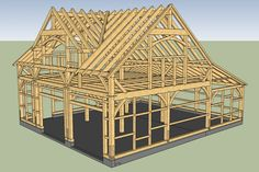 3D Rendering of Carriage Barn Timber Frame with Reverse Gable Dormer