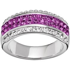 Silver-Plated Crystal Stripe Ring (£20) ❤ liked on Polyvore featuring jewelry, rings, purple, pave jewelry, purple ring, purple jewelry, silver plated jewelry and pave ring