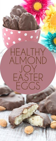 Easy and delicious, these low carb Almond Joys are sure to be a hit. Egg shaped for Easter! Keto Grain-free Banting LCHF Recipe.