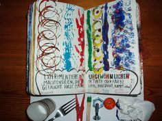 Wreck This Journal: Draw Lines Using Abnormal Writing Utensils Dipped In Ink Or Paint.