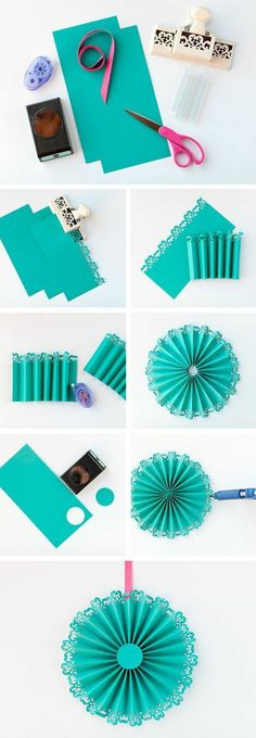 DIY: Paper Medallions and paper flowers Kids Crafts, Diy And Crafts, Craft Projects, Diy Flowers, Paper Flowers, Diy Party Dekoration, Diy Paper, Paper Crafts, Paper Medallions