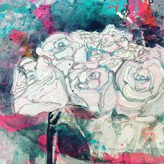 """Gefällt 58 Mal, 6 Kommentare - Michelle Schratz { MiSchra } (@raspberrybluesky) auf Instagram: """"Just for fun 💖 #lovingthesun #flowers #bloom #justforfun #mixedmedia #roses #arerosesred…"""""""