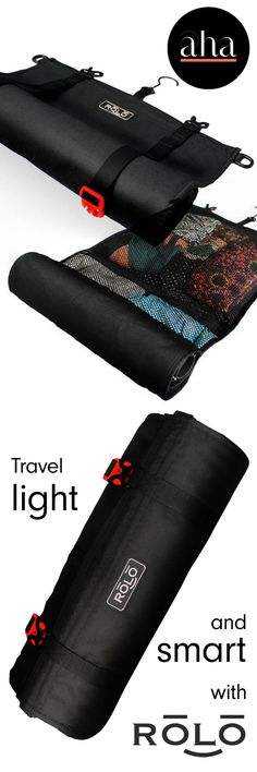 Rolo Travel Bag - Simply roll up your clothing, place it in the high quality zipper pockets, roll the bag up, and go! Shop now: http://www.ahalife.com/rolotravel?utm_source=Pinterest&utm_medium=ads&utm_Rolo_iOS&rw=0