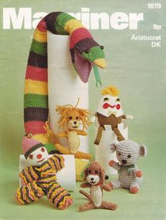 Marriner 1619 toy knitting and crochet vintage pattern Retro Crafts, Vintage Crafts, Fun Crafts, Crafts For Kids, Sewing Crafts, Sewing Projects, Craft Projects, Craft Ideas, Vintage Knitting
