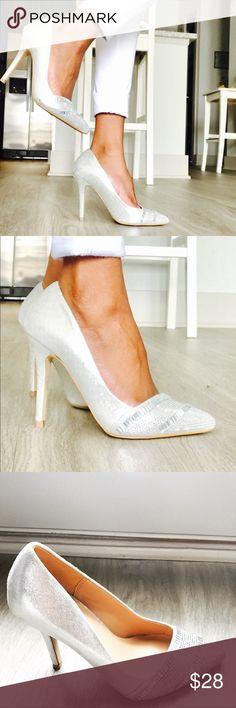 "Aldo Heels Silver Rhinestones Aldo heels in great condition. I only wore these once or twice. Heel Height: 3"" Aldo Shoes Heels"