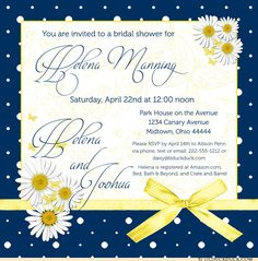 Classic navy pairs up with sunny spring yellow for lovely bride-to-be! Navy blue & yellow daisy bridal shower cards celebrate love in bloom with crisp style