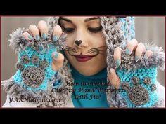 Crochet Tutorial: Cat Paw Hand Warmers with Fur   YARNutopia by Nadia Fuad