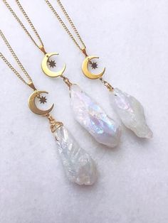 Aura Quartz Pendant Necklace crystal necklace bohemian angel aura crystal moon necklace rainbow crystal reward for her celestial allure Cute Jewelry, Jewelry Sets, Jewelry Making, Women Jewelry, Fashion Jewelry, Craft Jewelry, Jewelry Tree, Beach Jewelry, Crystal Gifts